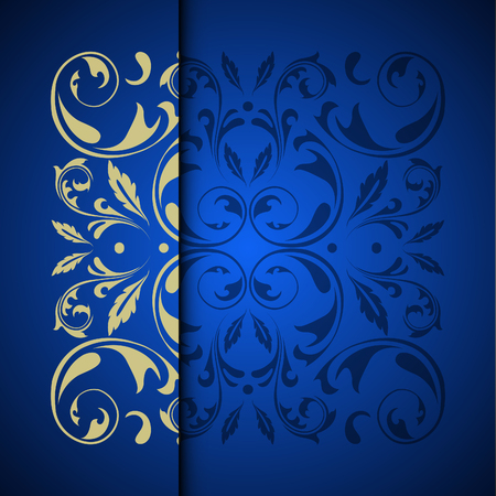 Illustration for Vector gold oriental arabesque pattern background with place for text. Blue color - Royalty Free Image