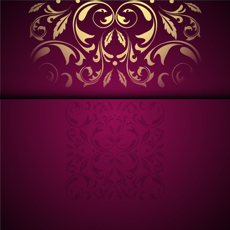 Illustration for Vector gold oriental arabesque pattern background with place for text. Garnet color - Royalty Free Image