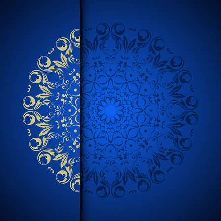 Photo pour Vector gold oriental arabesque pattern background with place for text. Blue color - image libre de droit
