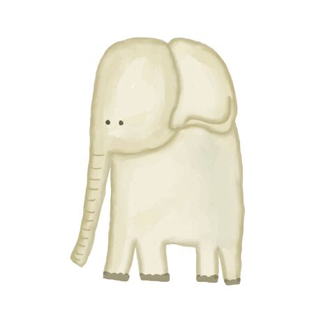 Illustration pour doodle, watercolor hand drawn elephant isolated on white background, vector - image libre de droit