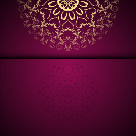 Illustration pour Vector gold oriental arabesque pattern background with place for text. Garnet color - image libre de droit