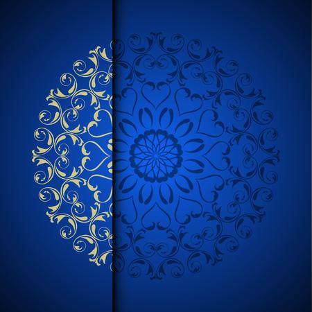 Photo pour Vector gold oriental arabesque pattern background with place for text. Blue color - image libre de droit