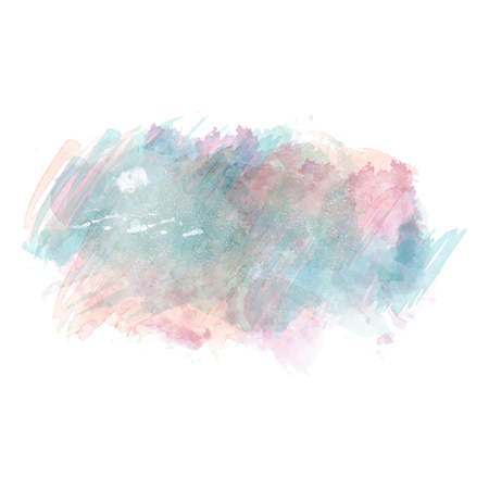 Ilustración de Blue and pink watercolor painted vector stain isolated on white background, vector illustration. - Imagen libre de derechos
