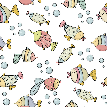 Illustration for doodle seamless pattern with fishes, vector eps 10 - Royalty Free Image