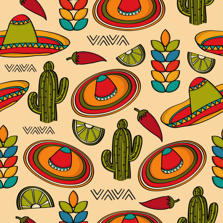 Illustration for Doodle seamless pattern with mexico symbols, vector format - Royalty Free Image
