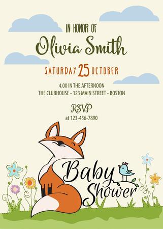 Ilustración de Baby shower card with cute little fox,customizable, printable 5 x 7 inch - Imagen libre de derechos