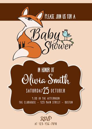 Illustration pour Baby shower card with cute little fox,customizable, printable 5 x 7 inch - image libre de droit