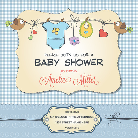 Illustration pour Baby shower card with baby clothings, customizable - image libre de droit