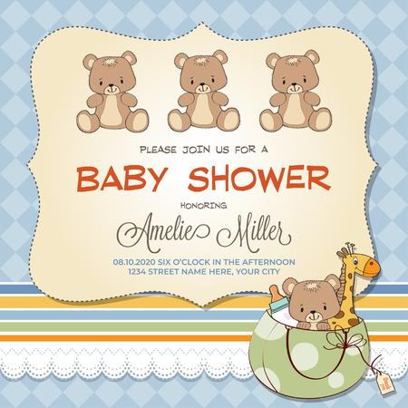 Illustration pour Baby shower card with teddy bears, customizable - image libre de droit