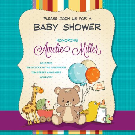 Ilustración de Baby shower card with toys, customizable - Imagen libre de derechos