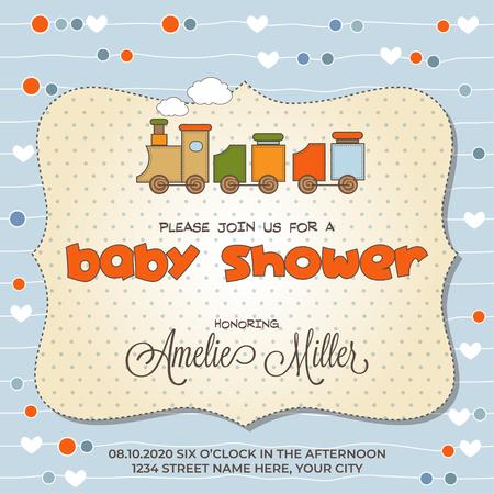 Illustration pour Baby shower card with toy train, customizable - image libre de droit