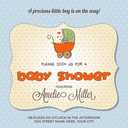 Illustration pour baby shower card with stroller, customizable - image libre de droit