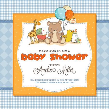 Illustration pour Baby shower card with toys, customizable - image libre de droit