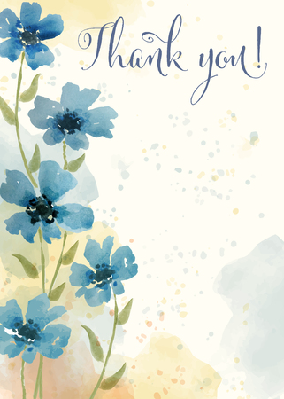 Ilustración de Beautiful watercolor floral card with message  Thank you , vector - Imagen libre de derechos