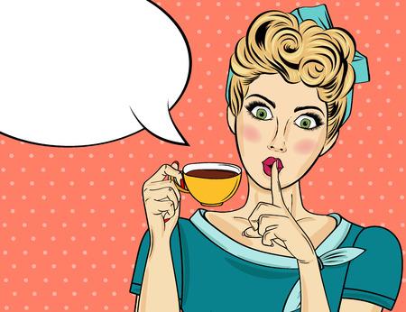 Ilustración de Sexy blonde pop art woman with coffee cup. Advertising poster in comic style. Vector - Imagen libre de derechos
