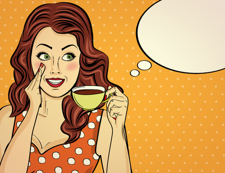 Illustration pour Sexy pop art woman with coffee cup. Advertising poster in comic style. Vector - image libre de droit