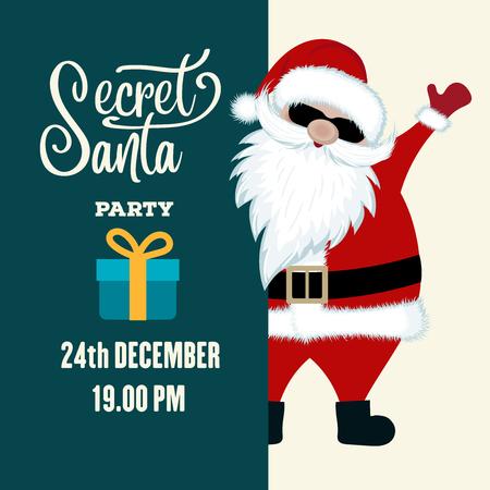 Ilustración de Secret Santa party invitation. Flat design. - Imagen libre de derechos