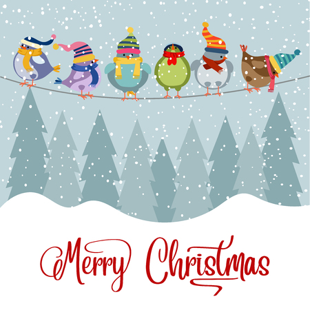 Illustrazione per Christmas card with birds. Christmas background. Flat design. Vector - Immagini Royalty Free