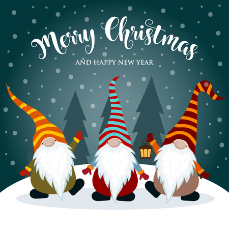 Illustrazione per Christmas card with gnomes. Flat design. Vector - Immagini Royalty Free