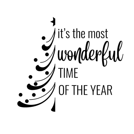 Ilustración de It's the most wonderful time of the year. Christmas quote. Black typography for Christmas cards design, poster, print - Imagen libre de derechos