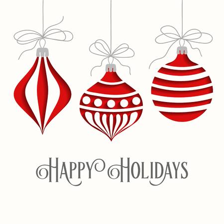 Illustration pour Elegant Christmas card with balls and greetings - image libre de droit