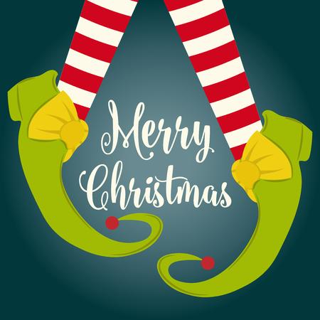 Ilustración de Funny Christmas card with elf legs. Flat design - Imagen libre de derechos