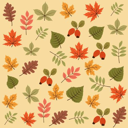 Ilustración de autumn seamless pattern with leaves, vector - Imagen libre de derechos
