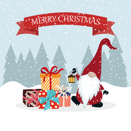 Illustration for Christmas card with gnome and gift boxes. Flat design. Scandinavian Christmas - Royalty Free Image