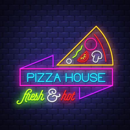 Illustration pour Pizza House - Neon Sign Vector. Pizza House - neon sign on brick wall background, design element, light banner, announcement neon signboard, night advensing. Vector Illustration - image libre de droit