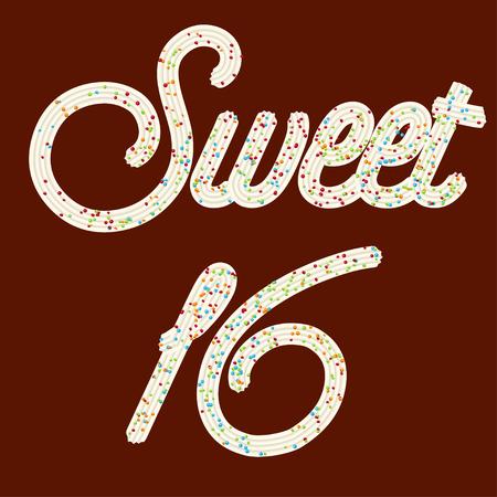 Ilustración de Tempting  typography. Icing text. Sweet 16 whipped cream text glazed with candy. Vector. - Imagen libre de derechos