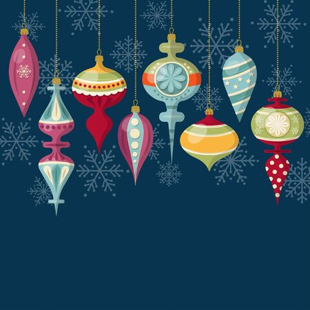 Illustration for Flat design Christmas card with Christmas balls - Royalty Free Image