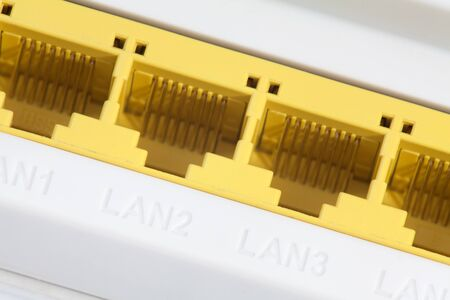 Internet port and four LAN ports on modem