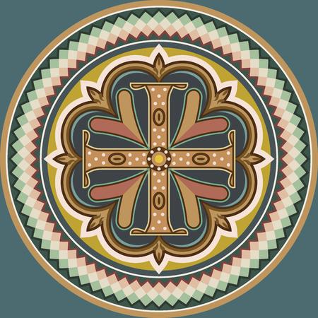 Ilustración de Byzantine style cross - Imagen libre de derechos