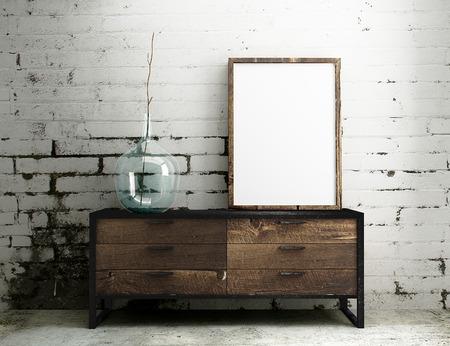 Foto de Empty Frame mockup hang on industrial table with white dirty brick interior - Imagen libre de derechos