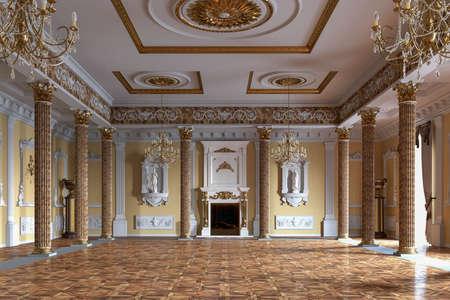 Photo pour Palace interior. 3D rendering - image libre de droit