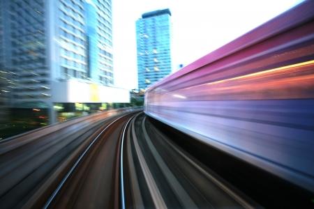 Motion blurred on speeding sky train