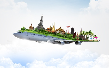 Photo pour travel thailand by airplane, concept - image libre de droit