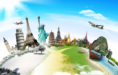 Photo pour Travel the world monument concept - image libre de droit