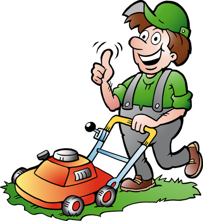 Illustration pour Hand-drawn illustration of an happy Gardener with his lawnmower - image libre de droit
