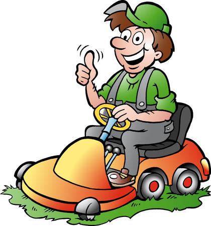 Illustration pour Hand-drawn illustration of an happy Gardener riding his lawnmower - image libre de droit