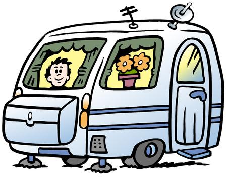 Illustration pour Cartoon Vector illustration of a boy in the caravan ready for the holidays - image libre de droit