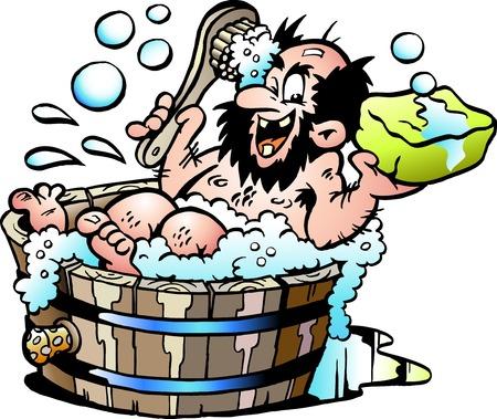 Ilustración de Cartoon Vector illustration of an Old dirty man who wash him selv in a Wooden Bathtub - Imagen libre de derechos