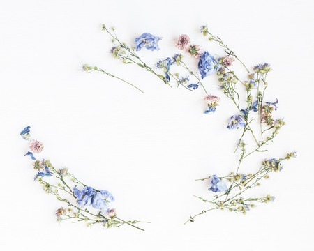 Photo pour Flowers composition. Frame made of dried flowers on white background. Flat lay, top view - image libre de droit