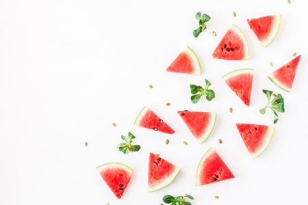 Photo for Watermelon pieces. Sliced watermelon on white background. Flat lay, top view - Royalty Free Image
