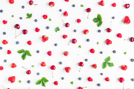 Foto de Fruit pattern. Fresh fruits on white background. Summer concept. Flat lay, top view - Imagen libre de derechos