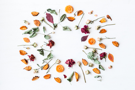Photo for frame made of dried flowers and autumn leaves, top view, flat lay - Royalty Free Image