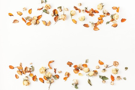 Photo pour Autumn composition. Border made of autumn dried flowers and leaves on white background. Flat lay, top view, copy space. - image libre de droit