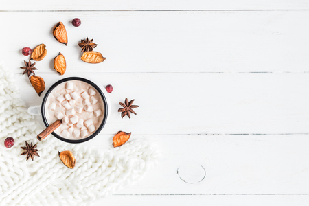 Photo for Autumn. Hot chocolate, knitted blanket, dried flowers and leaves. Flat lay, top view - Royalty Free Image