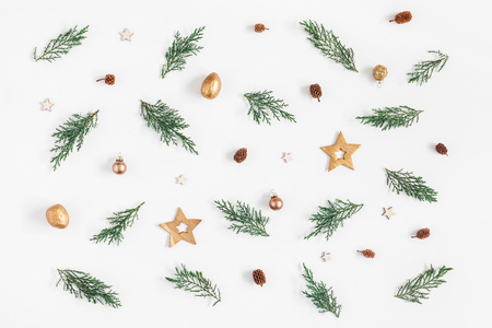 Photo for Christmas composition. Pattern made of pine branches and christmas decorations on white background. Flat lay, top view - Royalty Free Image