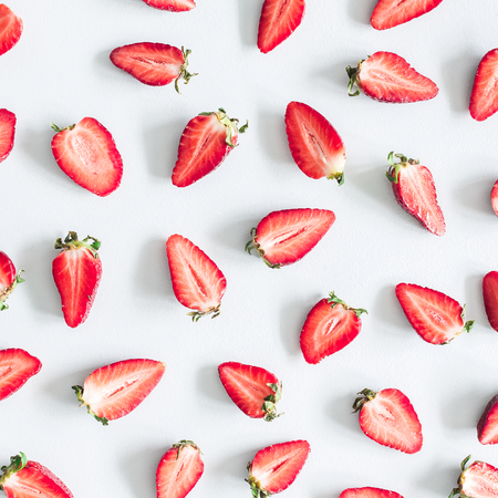 Photo for Strawberry pattern on pastel blue background. Summer concept. Flat lay, top view, square - Royalty Free Image